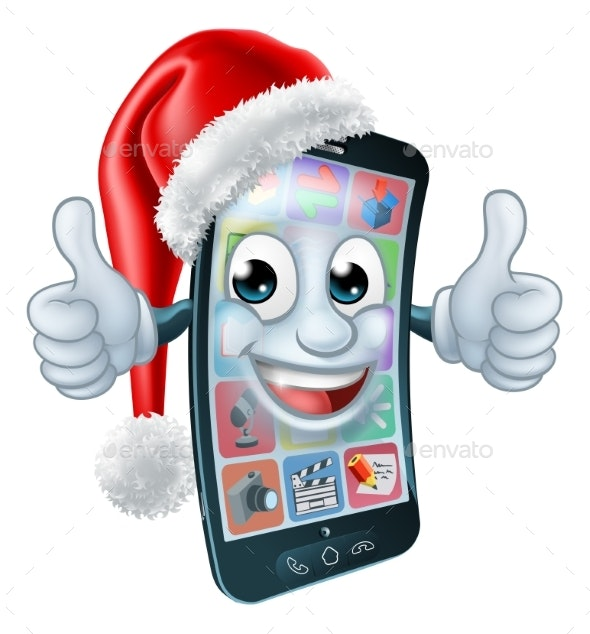 Christmas Cell Mobile Phone Cartoon in Santa Hat - Christmas Seasons/Holidays