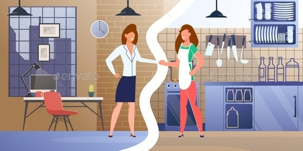 Womens Career and House Work Flat Vector Concept - Food Objects