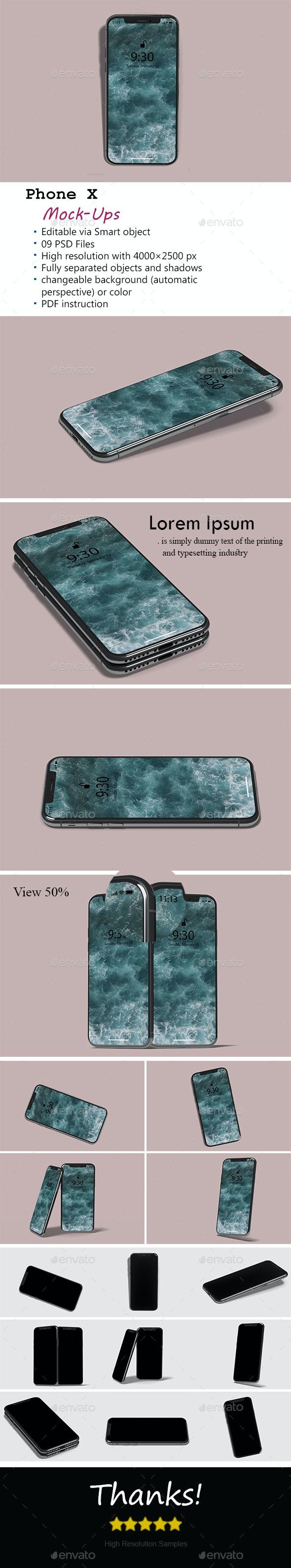 Phone X Mockup - Product Mock-Ups Graphics
