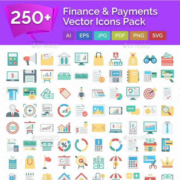 250+ Finance and Payments Vector Icons Pack