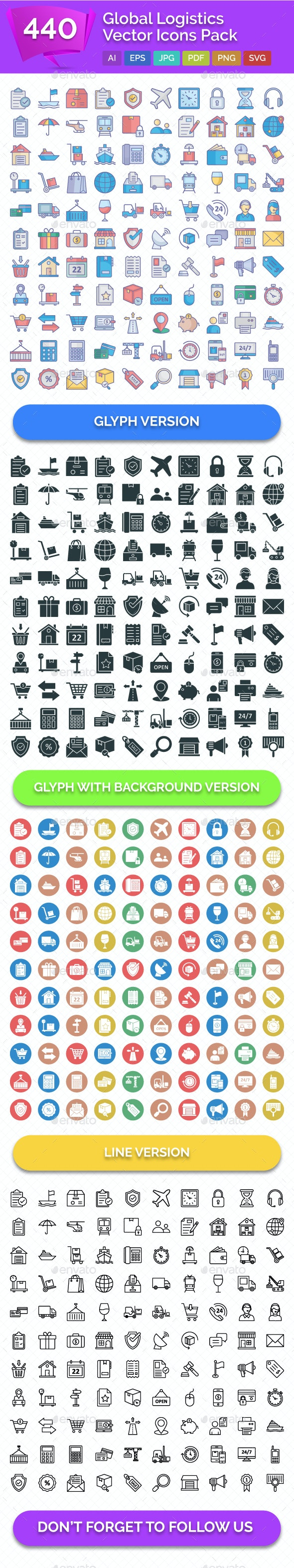 440 Global Logistics Vector Icons Pack - Icons
