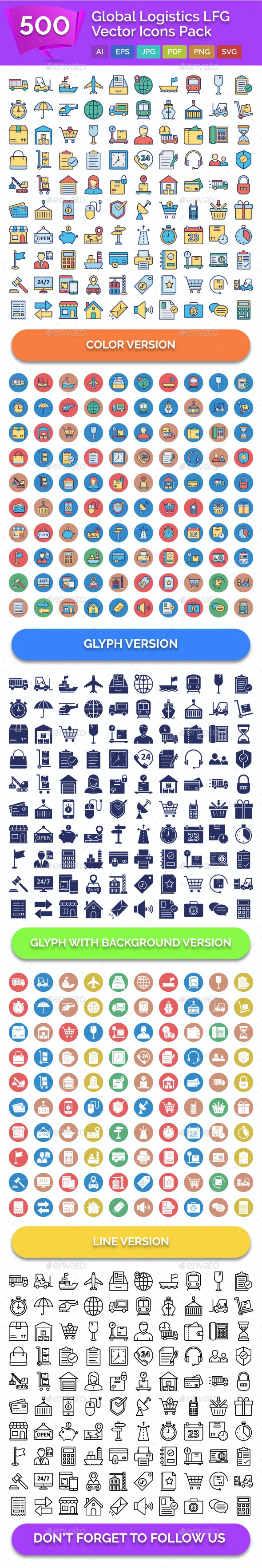 500 Global Logistics Line Fill Glyph Icons Pack by ranksol