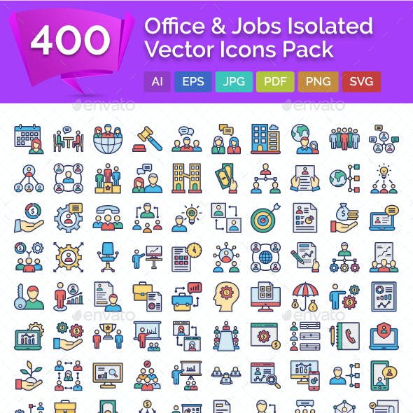 400 Office & Jobs Isolated Vector Icons Pack