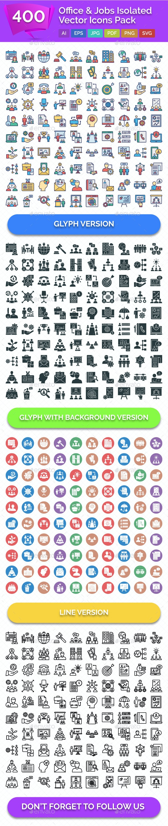 400 Office & Jobs Isolated Vector Icons Pack - Icons