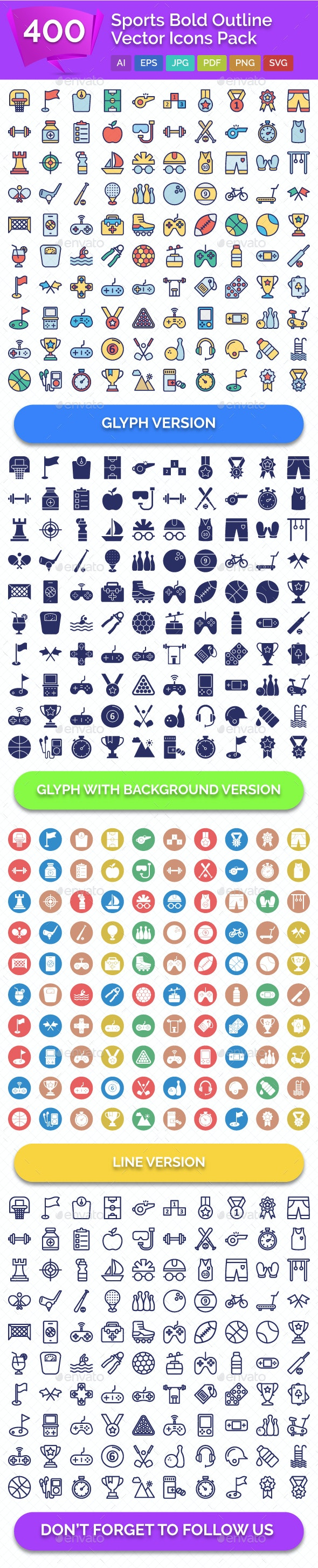 400 Sports Bold Outline Vector Icons Pack - Icons