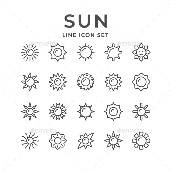 Set Line Icons of Sun - Abstract Icons