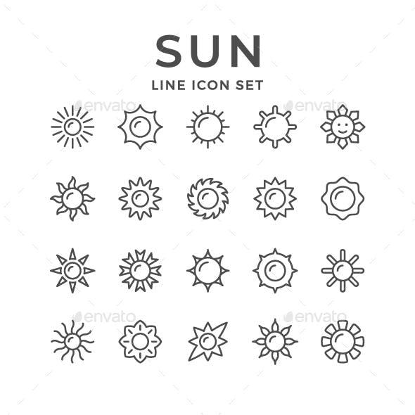 Set Line Icons of Sun