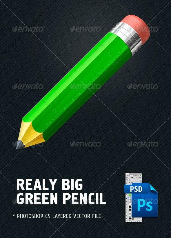 Big green pencil - Objects Illustrations
