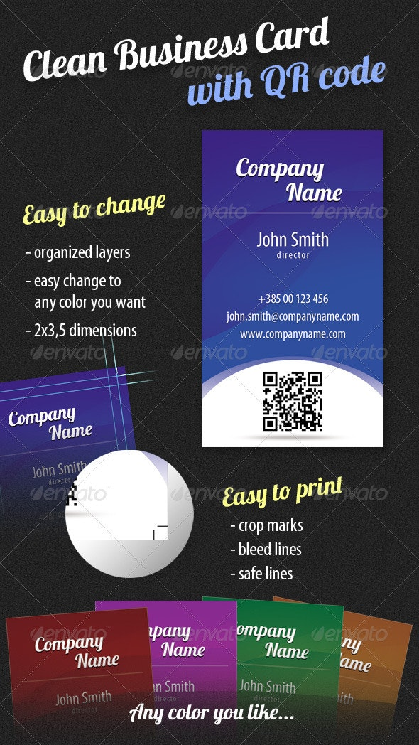 Clean Business Card with QR Code - Corporate Business Cards