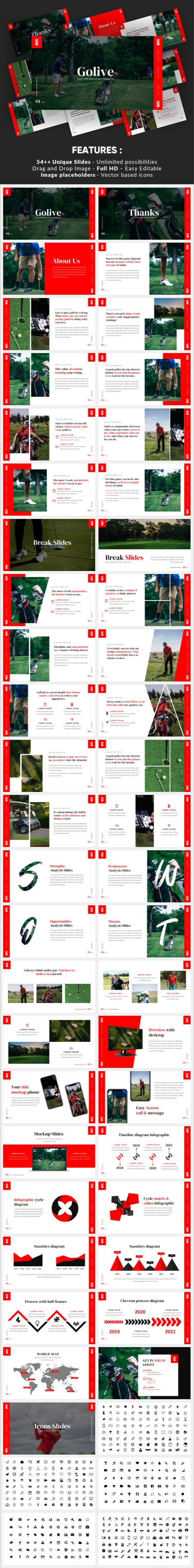 Golive - Golf Clubs Google Slides Template - Google Slides Presentation Templates