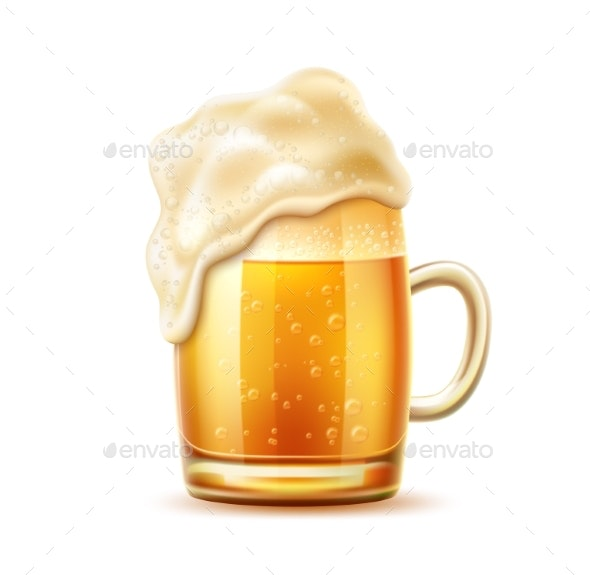 Vector Realistic Beer Glass Mug of Lager Ale - Food Objects