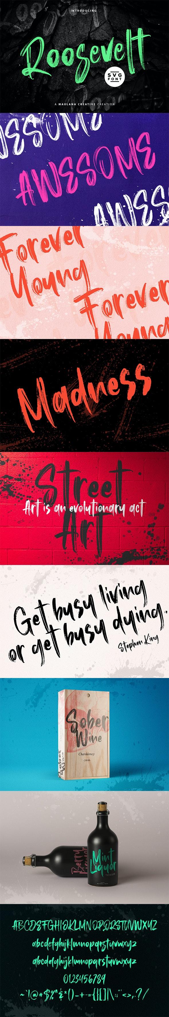 Roosevelt SVG Brush Font - Handwriting Fonts