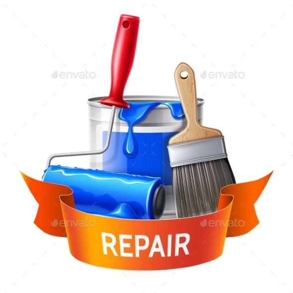 Vector 3d Wall Painter Tool Brush Roller Bucket - Industries Business