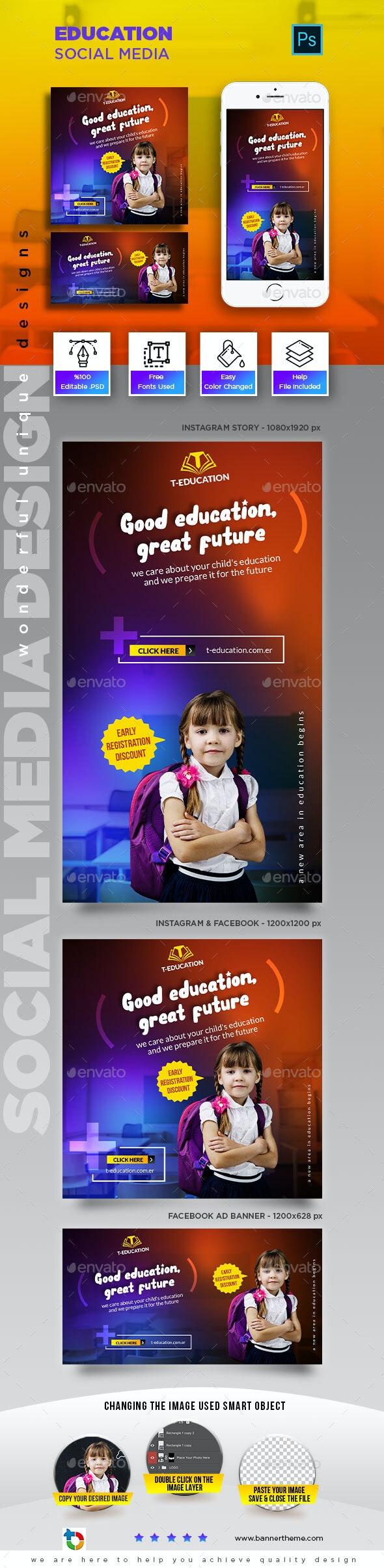 Education Social Media Banner - Social Media Web Elements