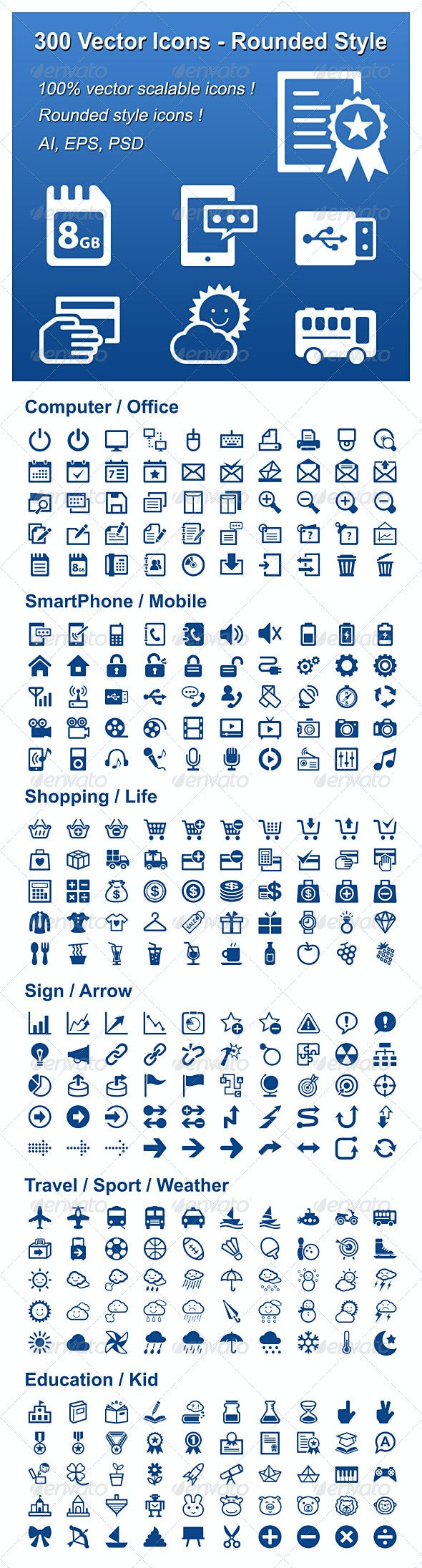 300 Vector Icons - Rounded Style - Web Icons