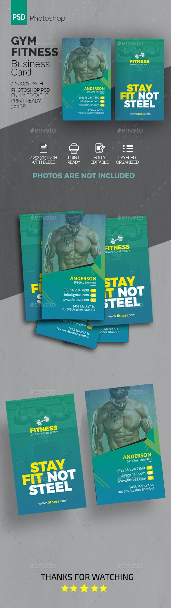 GYM Fitness Business Card - Industry Specific Business Cards