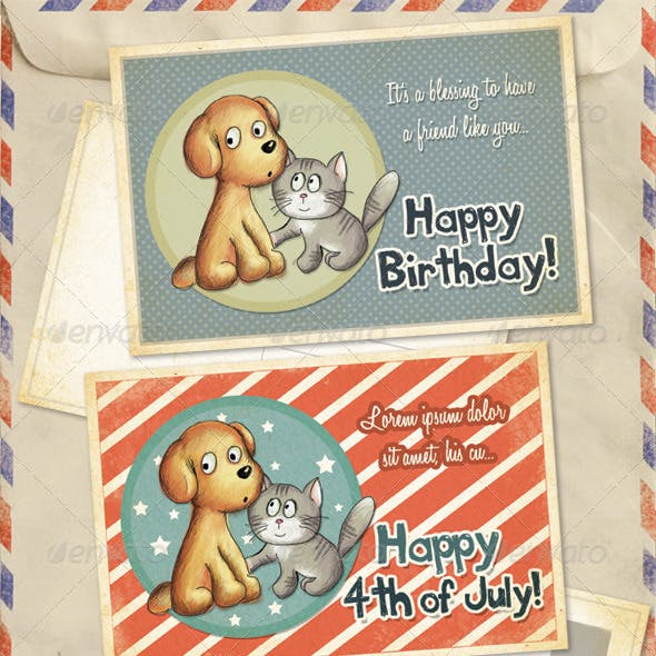 Birthday, 4th of July and Thank You Greeting Cards