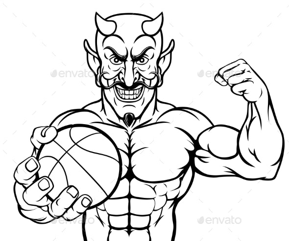 Devil Basketball Sports Mascot Holding Ball - Sports/Activity Conceptual