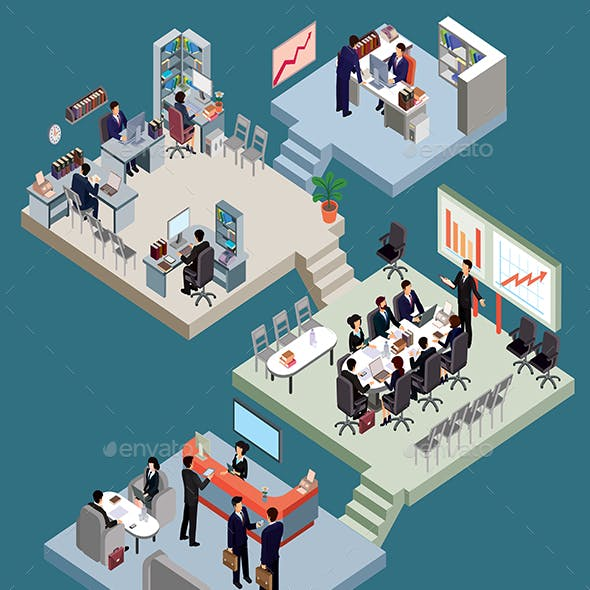Isometric People in Business Suits at Office