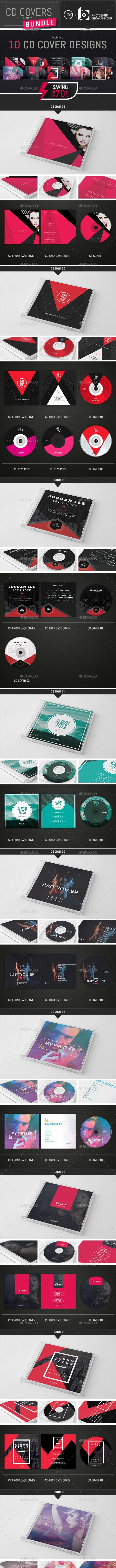 10 Music CD Cover Templates Bundle - CD & DVD Artwork Print Templates