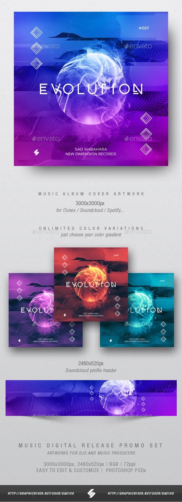 Evolution - Electronic Music Album Cover Artwork Template - Miscellaneous Social Media