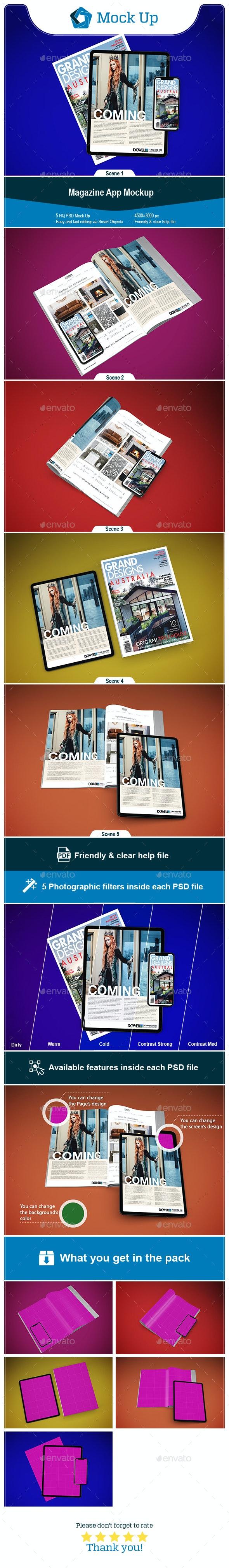 Magazine App Mockup - Mobile Displays