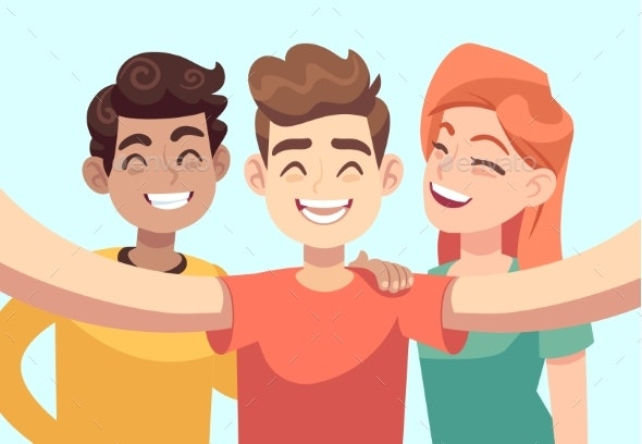 Selfie with Friends. Friendly Smiling Teenagers - People Characters