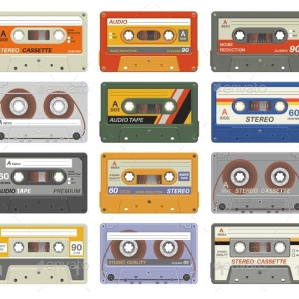 Retro Cassettes. Colorful Plastic Audio Cassette