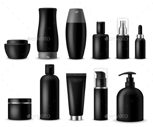 Realistic Cosmetic Mockups. Black Cosmetics Bottle - Man-made Objects Objects