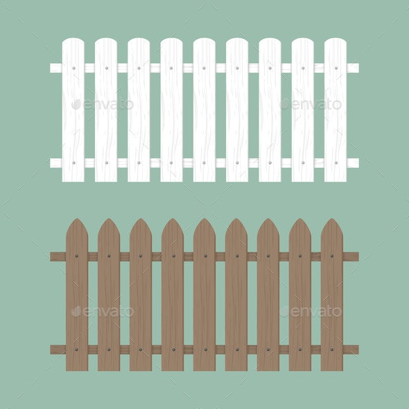 Wooden Fence Illustration Farm Wood Wall Yard - Man-made Objects Objects
