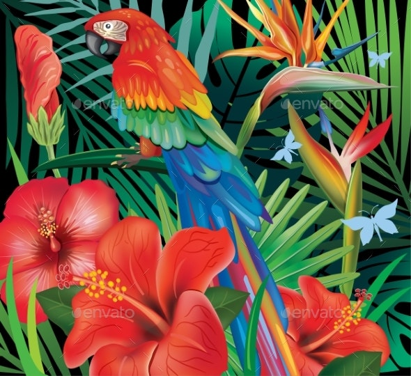 Background with Tropical Jungle Plants and Parrot - Flowers & Plants Nature