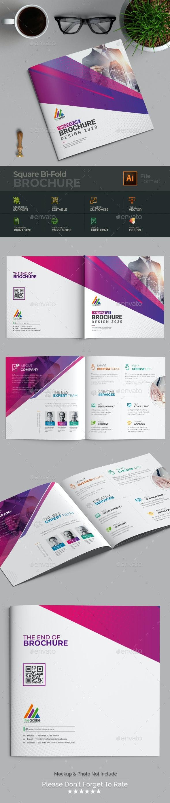Square Bi Fold Brochure - Brochures Print Templates