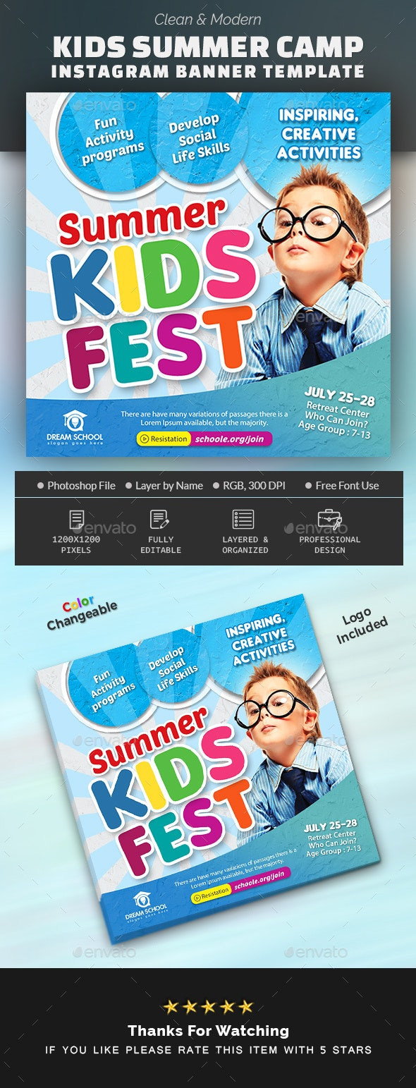 Kids Summer Camp Instagram Banner - Banners & Ads Web Elements