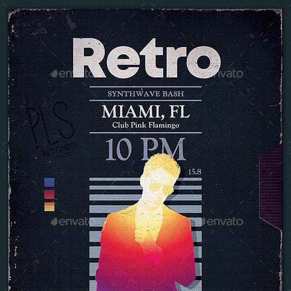 Retrowave Flyer 1980s VHS Template v1