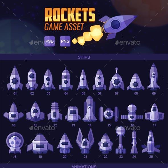 Flat Rockets Game Asset