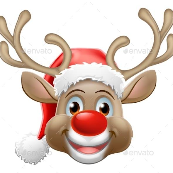 Christmas Reindeer Cartoon Deer Wearing Santa Hat