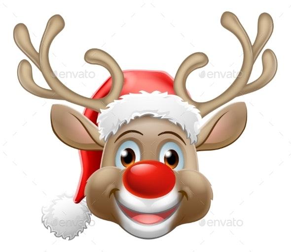 Christmas Reindeer Cartoon Deer Wearing Santa Hat - Animals Characters