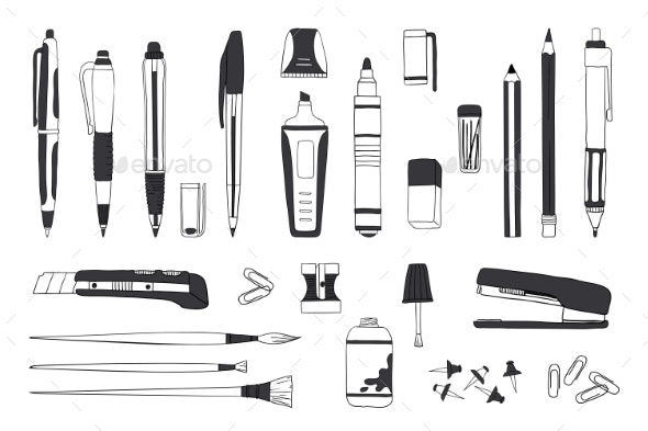 Hand Drawn Stationery - Miscellaneous Vectors