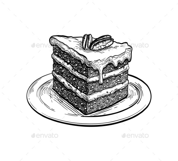 Ink Sketch of Carrot Cake - Food Objects