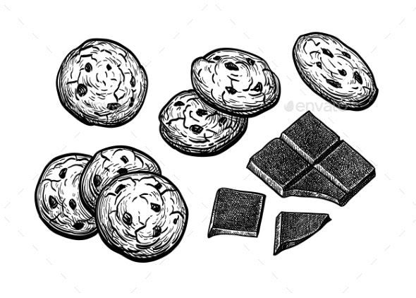 Ink Sketch of Chocolate Chip Cookie - Food Objects