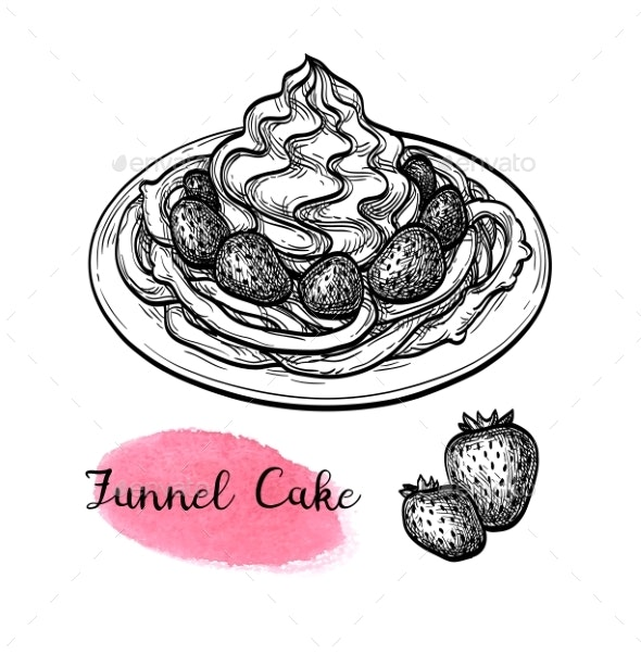 Ink Sketch of Funnel Cake - Food Objects