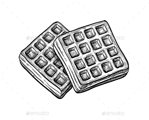 Ink Sketch of Waffle - Food Objects