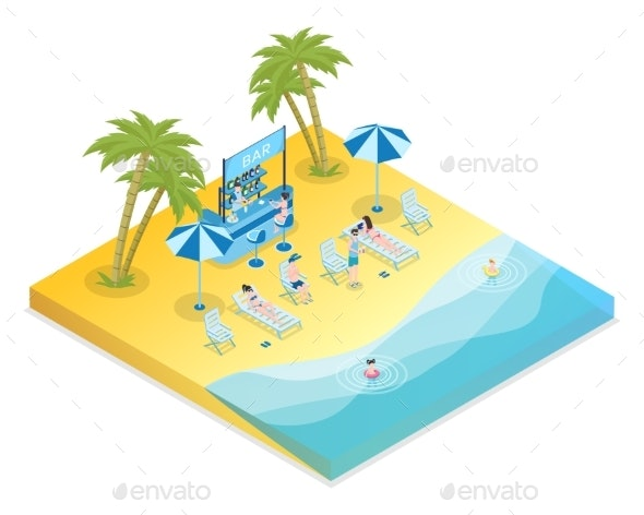 Sand Beach Recreation Isometric Vector - Landscapes Nature