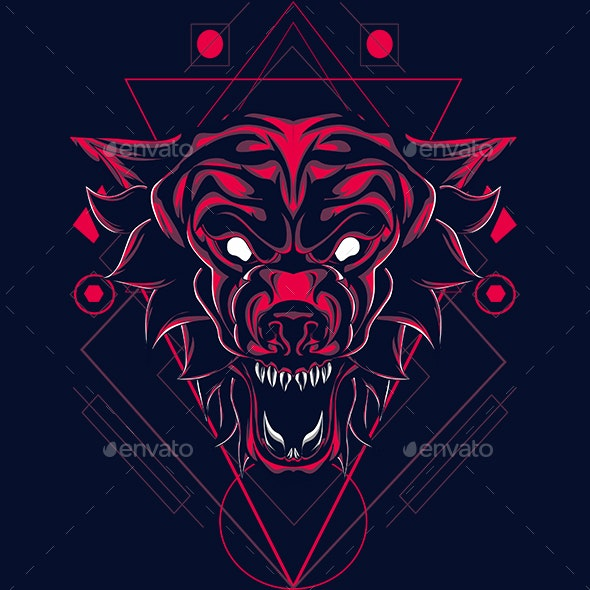 The Myhtical Wolf Sacred Geometry - Animals Characters