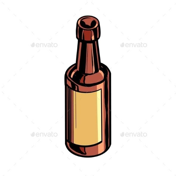 Retro Bottle Medicine or Drink - Food Objects