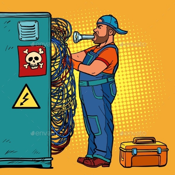 Electrician Technician Repairs Wires - Services Commercial / Shopping