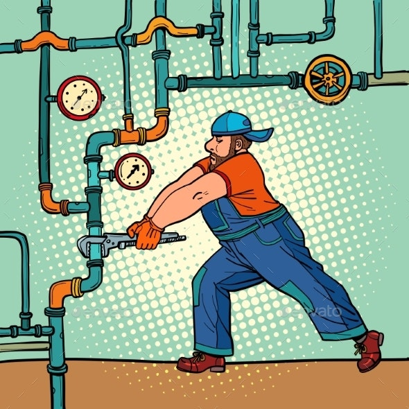 Plumber Repairs Pipes - People Characters