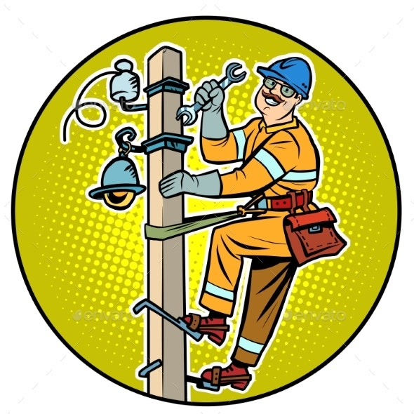 Electrician on the Power Pole - People Characters