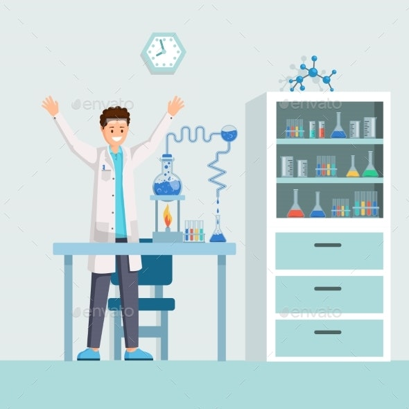 Researchers Success Flat Vector Illustration - Miscellaneous Vectors