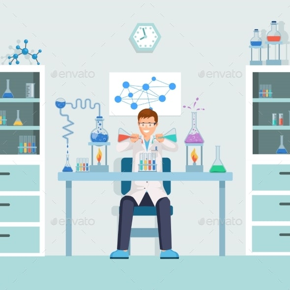 Lab Worker Doing Test Vector Illustration - Miscellaneous Vectors